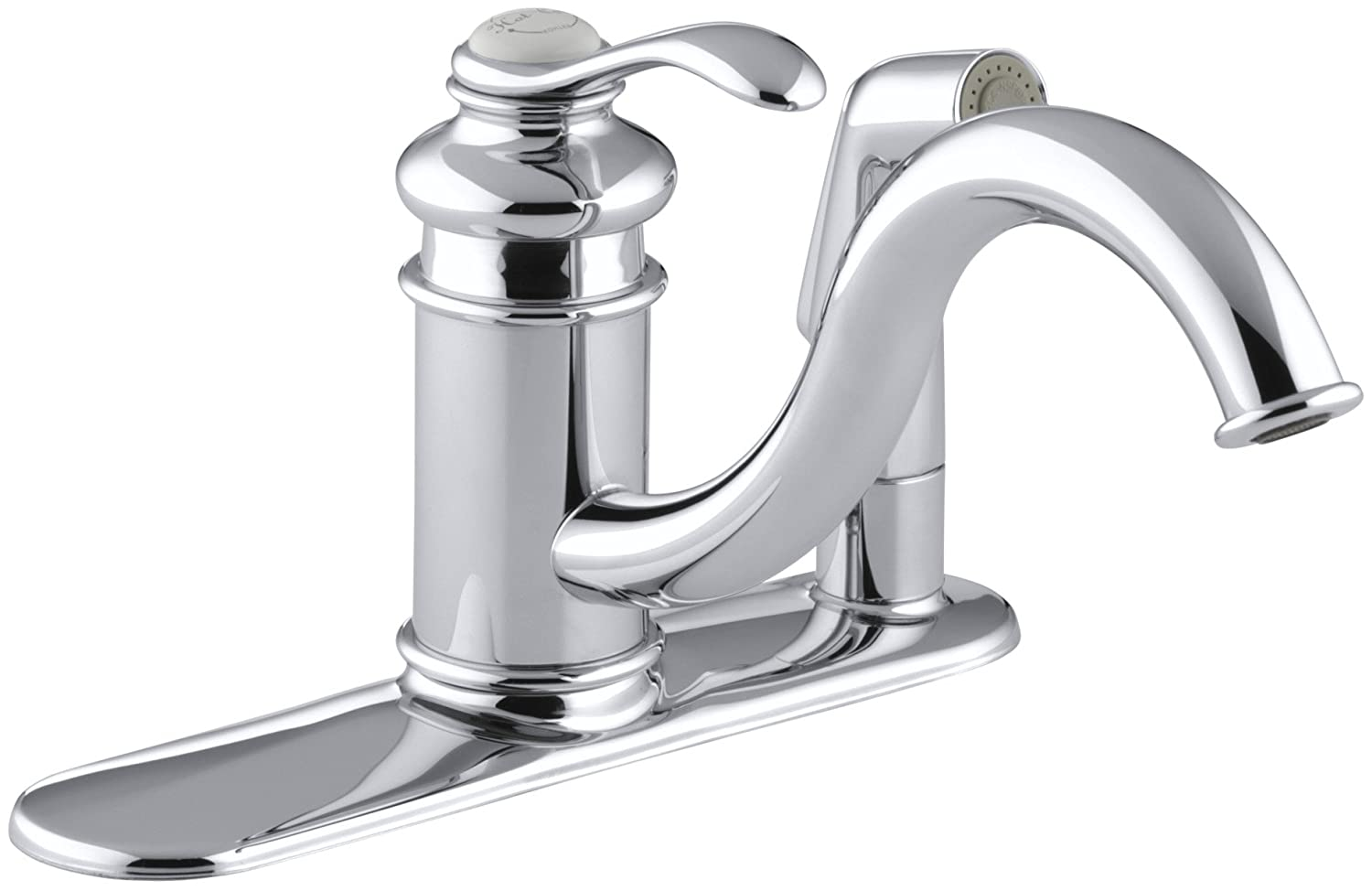 KOHLER 12173-CP Fairfax R Three-Hole Sink 9 spout and Matching Finish sidespray in Escutcheon Kitchen Faucet, Polished Chrome