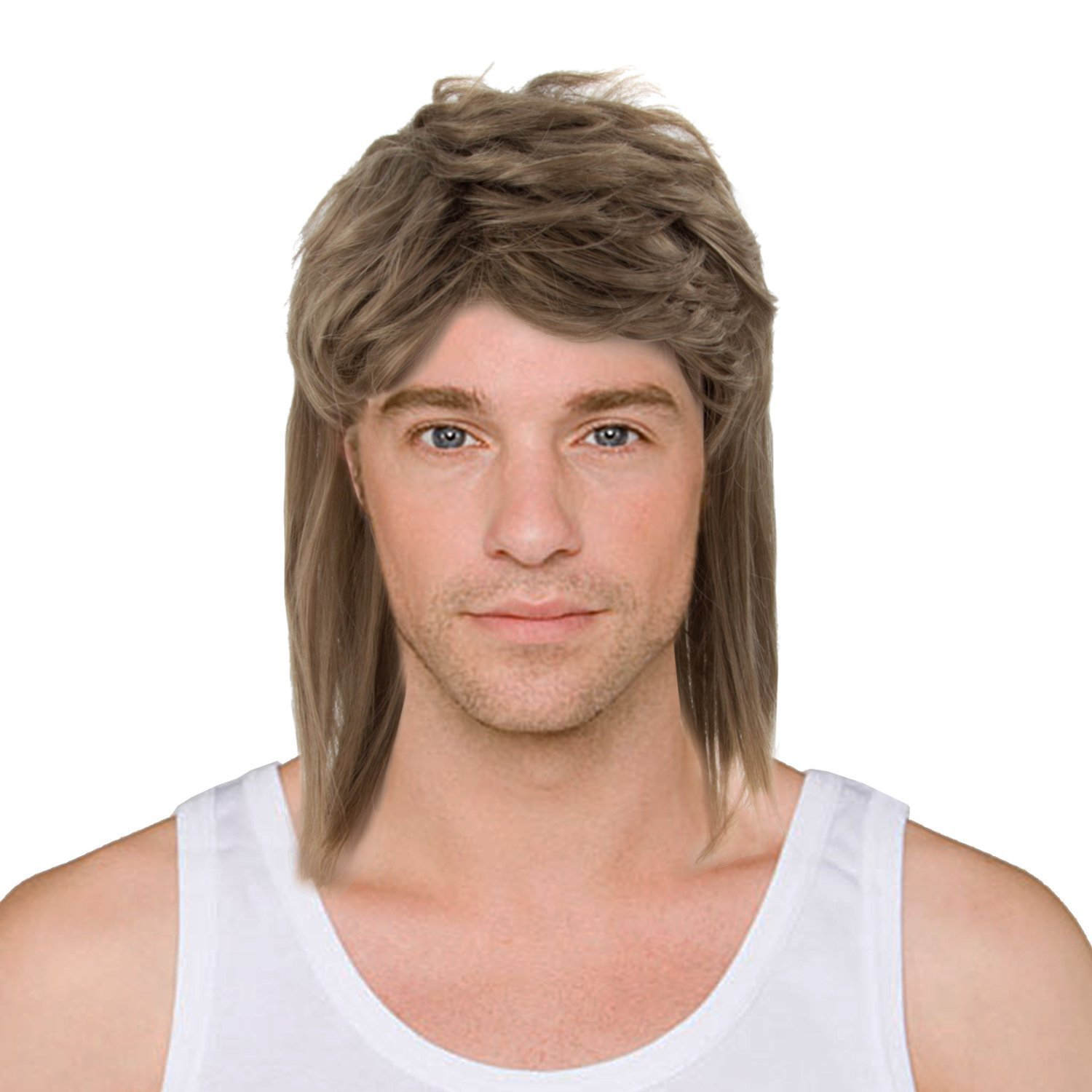 Black Fancy Dress Long Wig for Men and Women or AWS Mullet Wig Waynes World