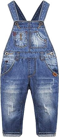 Kidscool Space Baby/&Little Boys Big Bib Pocket Ripped Distressed Cotton Denim Overalls
