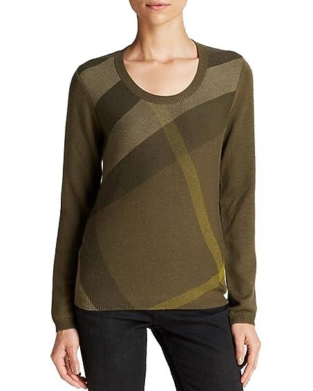 BURBERRY Lurex Military Olive Stitch Striped Cashmere Sweater ...