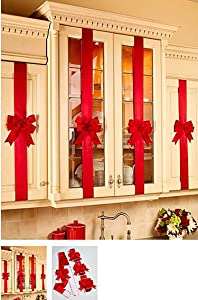 Decorative Holiday Kitchen Cabinet Ribbons with Bows - Set of 4