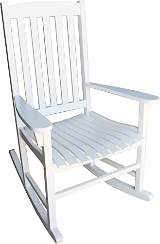 Amayo Home Solid Eucalyptus Rocking Chairs in White Color. Durable and Weather Resistant Rocker. Comfortably Relax Chair in Garden Porch Pool