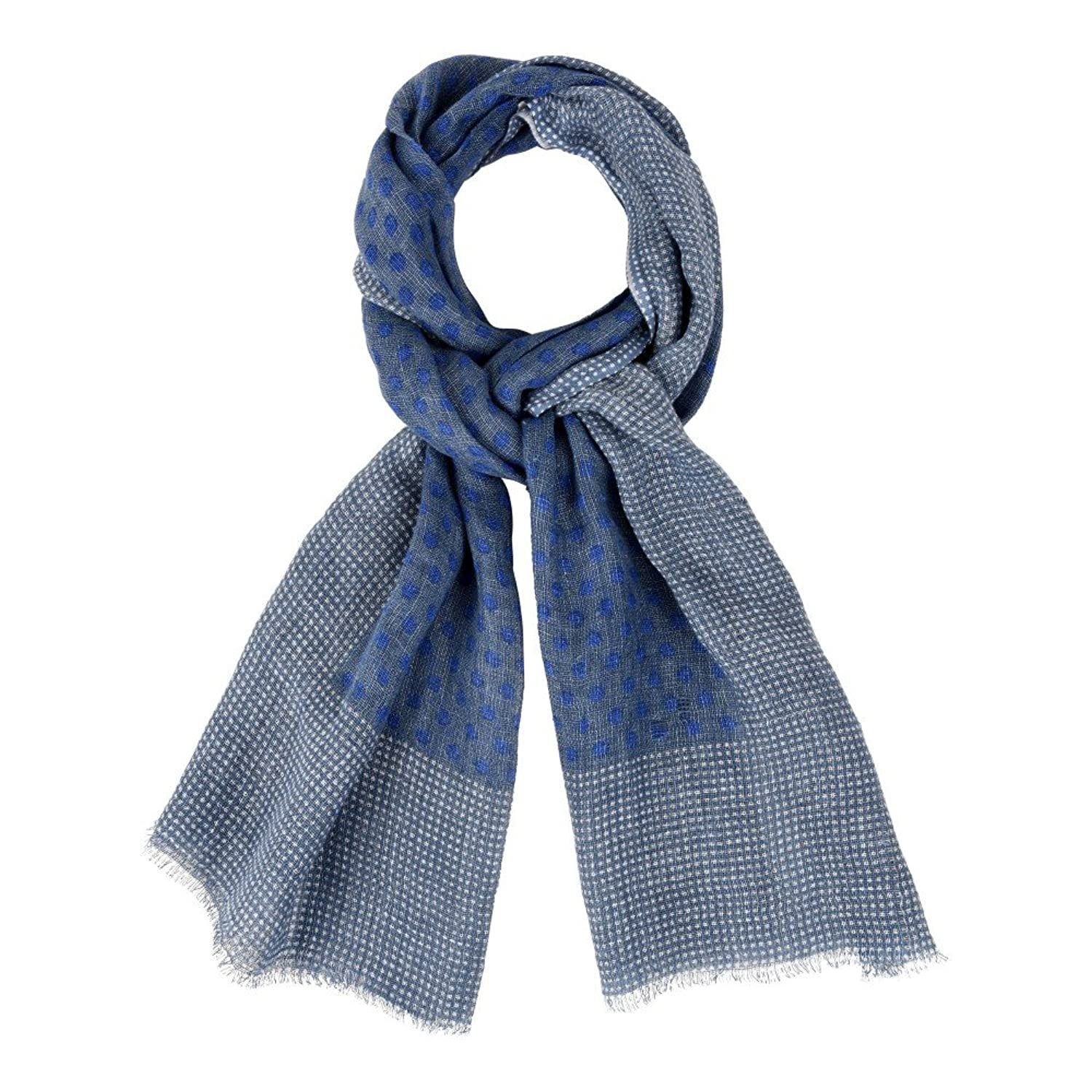 Unisex Scarf 100% Linen Blue and Blue Dots - White Edging