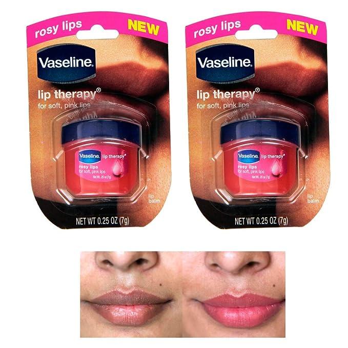 2 Vaseline Therapy Lip Balm 0.25 Oz Rosy Flavor Petroleum Jelly Mini Jar Lipbalm