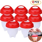 8 Pack Egg Cooker,Hard and Soft Maker,Non Stick Silicone Egg Cups,No Shell,Boiled,Poacher, Steamer, AS Seen on TV