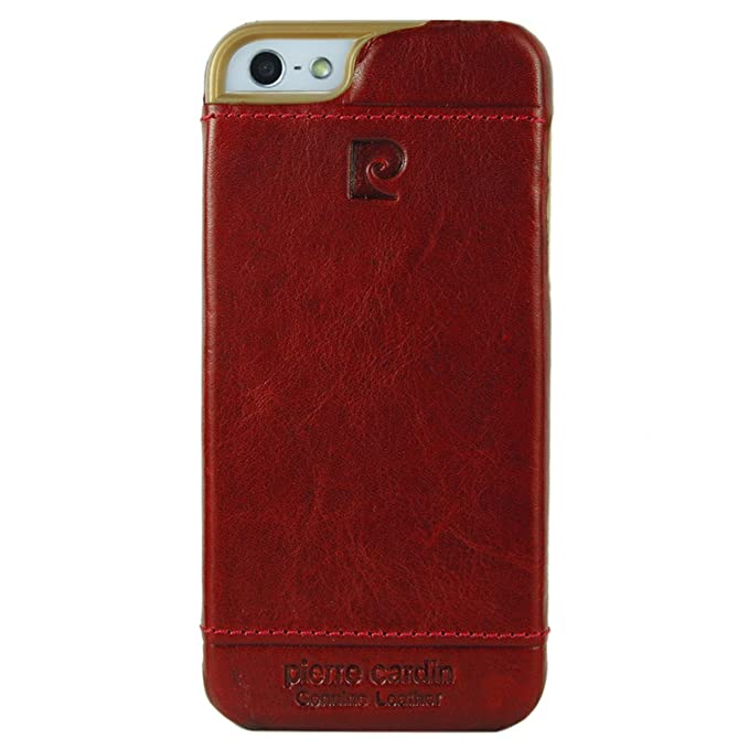 online store 5c8e5 50b57 Pierre Cardin Premium Genuine Leather Hard Case Back Cover Skin for Apple  iPhone 5 5s SE (Red)