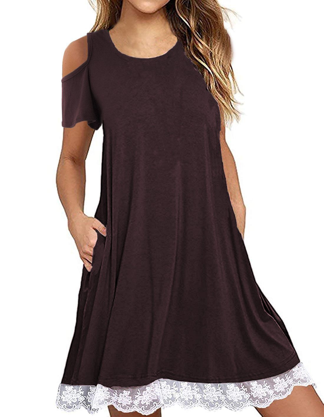 Uniboutique Women Cold Shoulder Short Sleeve Casual Summer Loose Fit Lace Trim Flowy Tunic Top Blouse with Pockets Purple M