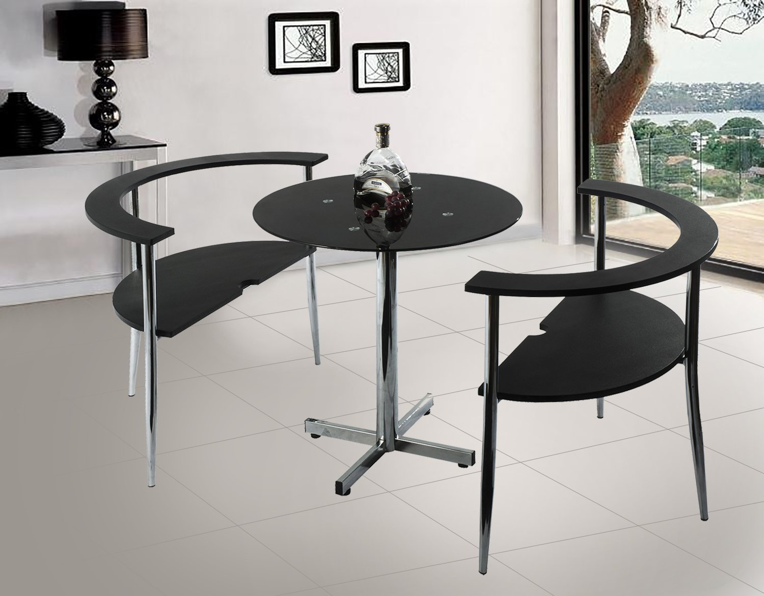 Merax 3-Pieces Dining Sets, Dining Table with Glass Top and Sturdy Metal Legs, 2chairs Included,Black