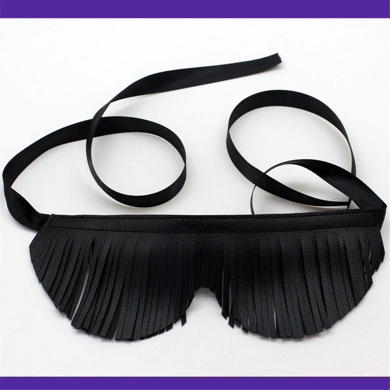 Tassels Mask Fetish Toys Bondage Play Soft Real Leather Blindfold Sex Toys for Woman Black