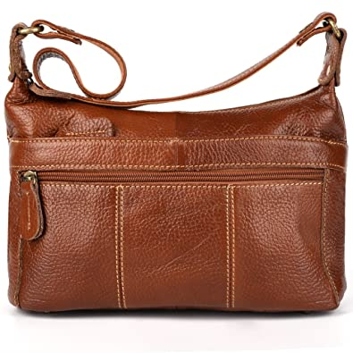 YALUXE Women's Cowhide Genuine Leather Small Cross Body Shoulder Bag Vintage Style Brown