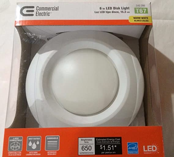 T67/Commercial Electric 6 In. Recessed Soft White LED Disk Light-(12 Pack) - Led Household Light Bulbs - Amazon.com