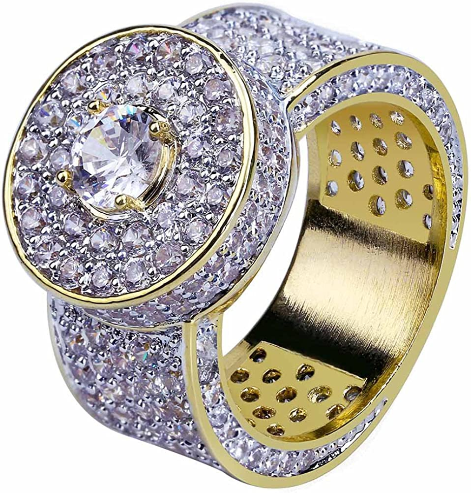 JINAO 18k Gold Plated Cluster Hip Hop Iced Out Lab Simulated Diamond Micro Pave CZ Pinky Ring for Men