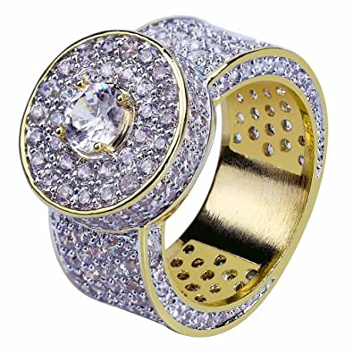 16ec5350af26d JINAO 18k Gold Cluster Hip Hop Iced Out Lab Simulated Diamond Micro Pave CZ  Pinky Ring for Men