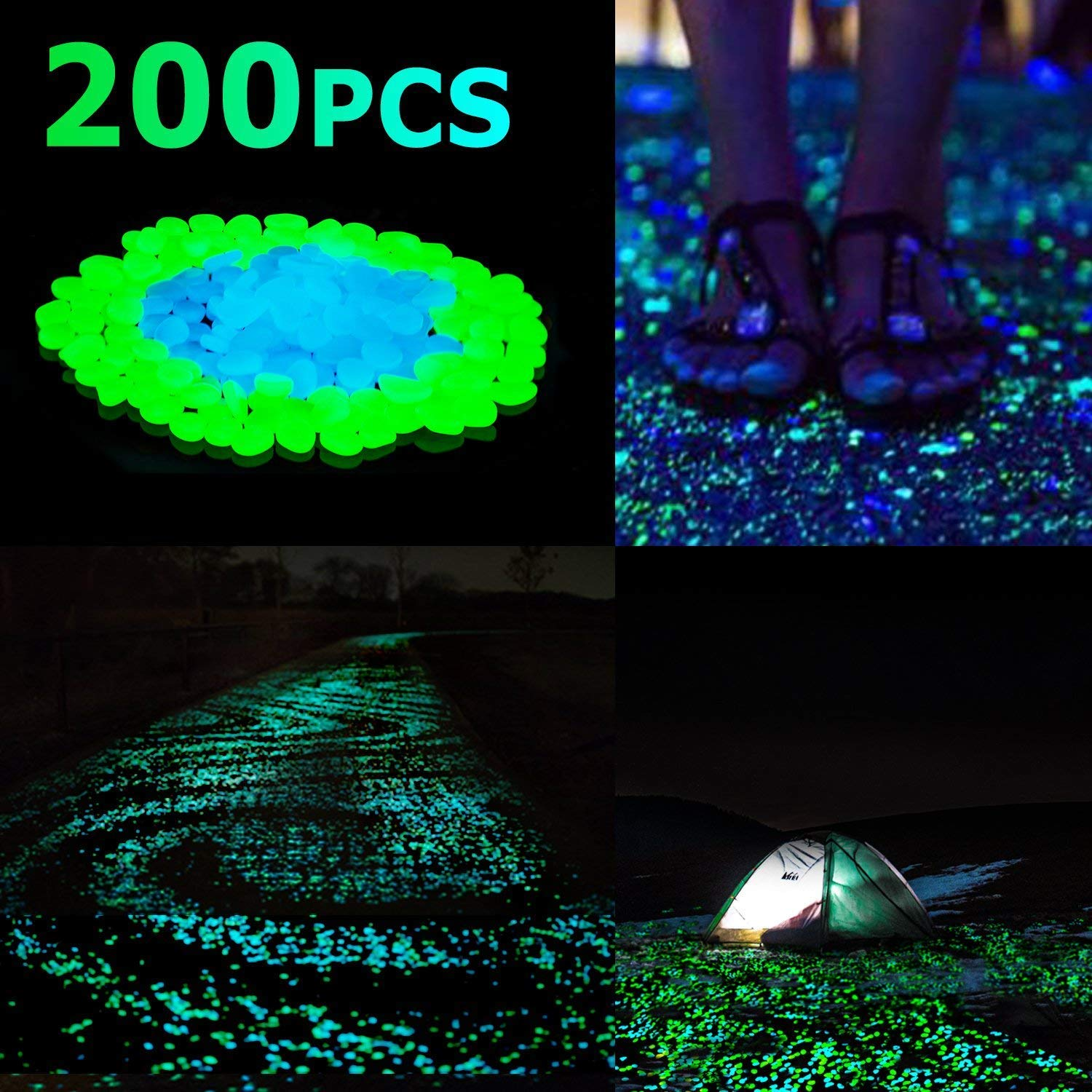 Glow in the Dark Pebbles, Glow in the Dark Rocks for Outdoor Fairy Garden, Glowing Stones Decoration Gravel for Driveway, Fish Tank, Aquarium, Path, Lawn, Yard (200PCS) by WeHome