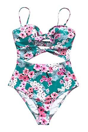 9f2a811c5fb06 CUPSHE Women s Cherry Blossom Bowknot Cutout One-Piece Swimsuit at ...