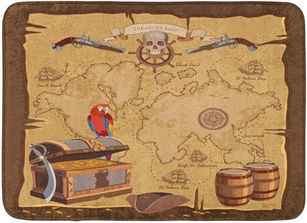 LINFENG Juego de felpudos Viejo Pirata Mapa del Tesoro Cofre ...