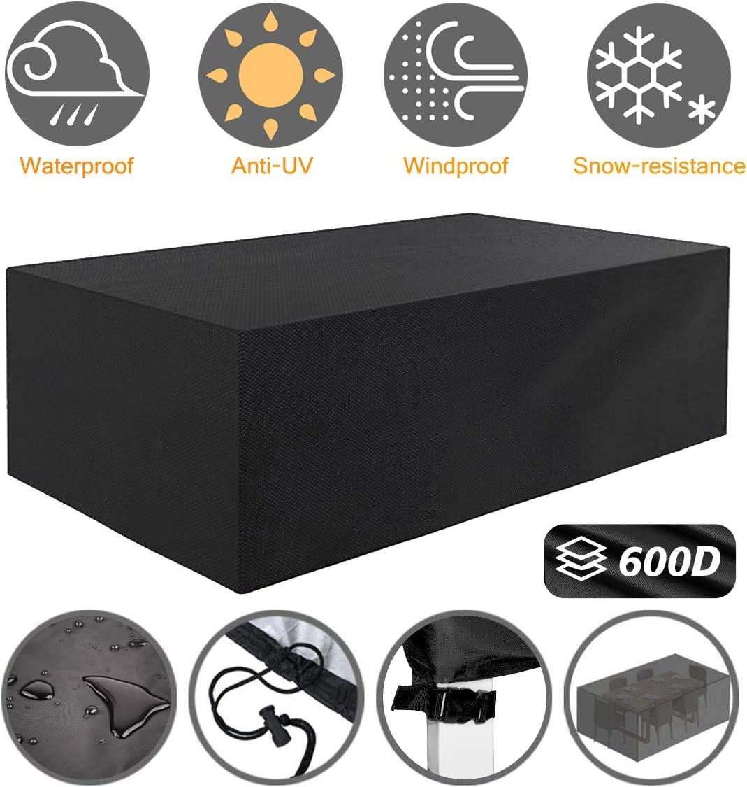 Tvird Patio Furniture Covers,Outdoor Furniture Covers Waterproof, 600D Heavy Duty Oxford Fabric,Table and Chair Set Covers Windproof Dust Proof Protective 242 x 162 x 100 cm Black