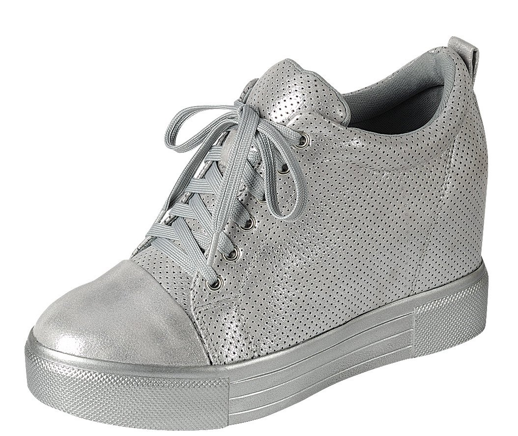 Cambridge Select Women's Low Top Closed Round Toe Lace-Up Perforated Fashion Sneaker Wedge B07BNQBWHG 8.5 B(M) US|Silver