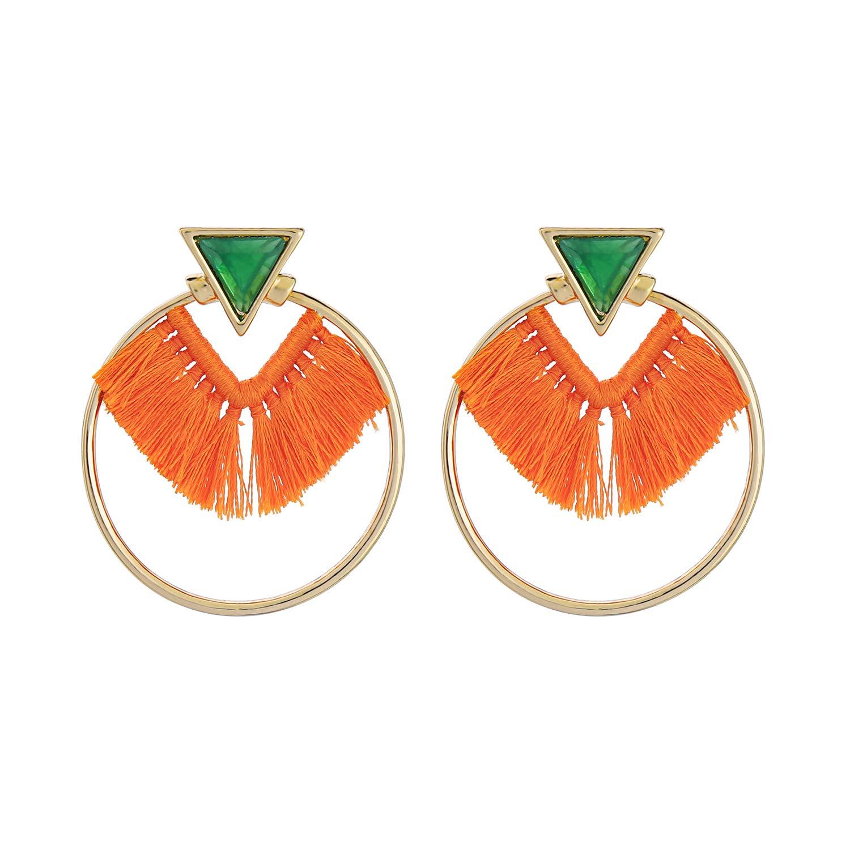 Miss Kiss 925 Silver Post Resin Tassel Thread Dangle Drop Earrings Jewelry for Womens Girls ED00593c