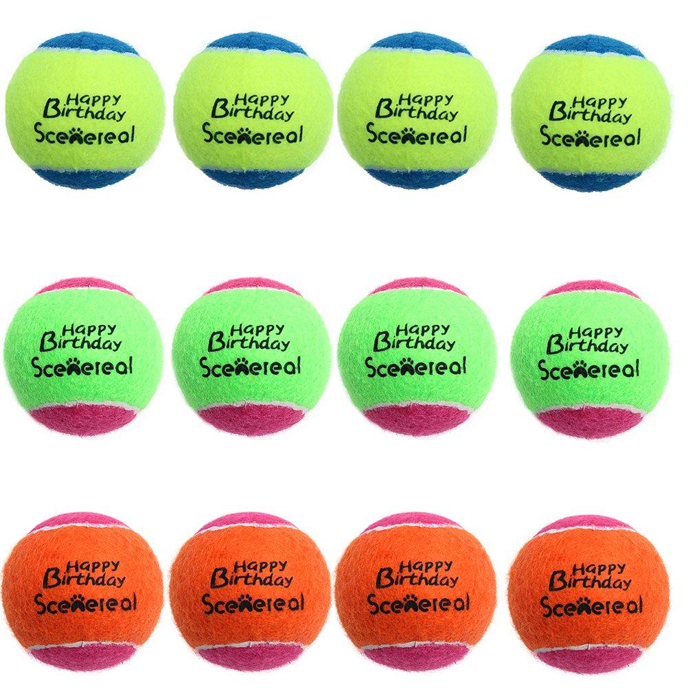 SCENEREAL CO. Balles de Tennis pour Chiens Lot DE 12/Lot couineur Jouets pour Chien pour Petit Animal Domestique d'entraînement et Jouer 5cm SAILE UT007-00