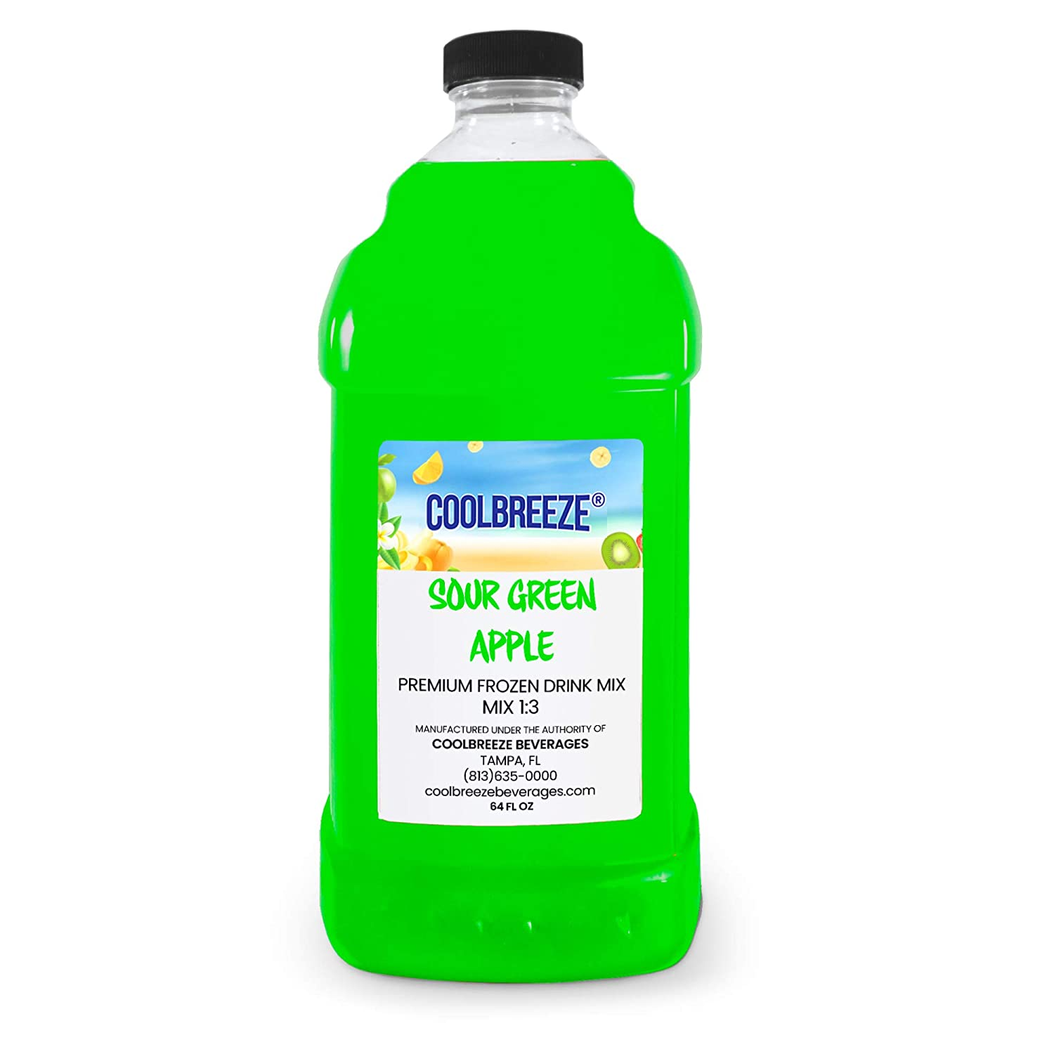 Coolbreeze Beverages Ready to Use Slush Mix - 1/2 Gal Bottle - Sour Green Apple