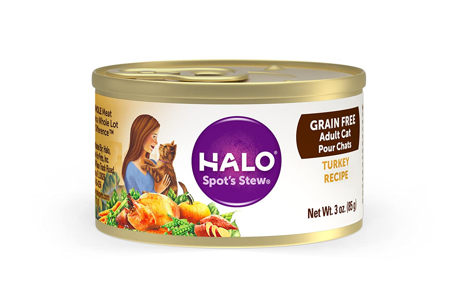 Halo Grain Free Natural Wet Cat Food, Turkey Recipe, 3- Ounce Can