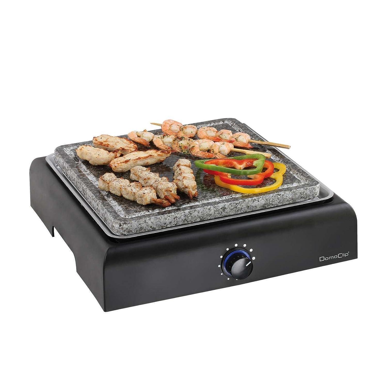 Griglia elettrica con piastra in granito, barbecue da tavolo, in pietra (superficie della griglia 25 cm, pietra ollare, termostato, barbecue elettrico)