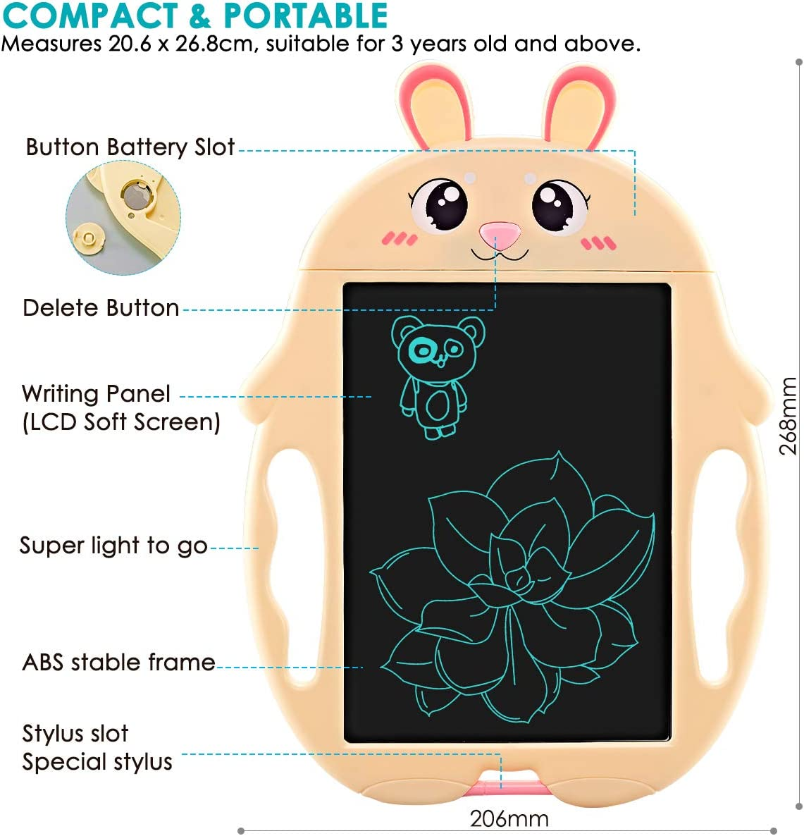 LCD Writing Tablet with 2pcs Stylus 9 inch Electronic Graphic Drawing Doodle Pad Mini Memo Notepad for Kids Baby Children Learning Toys