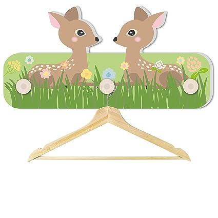 aus Stabiler Hartschaumplatte mit 3 Haken 30 x 16 x 1 cm Kindergarderobe f/ür Jungen und M/ädchen Motiv Bambi