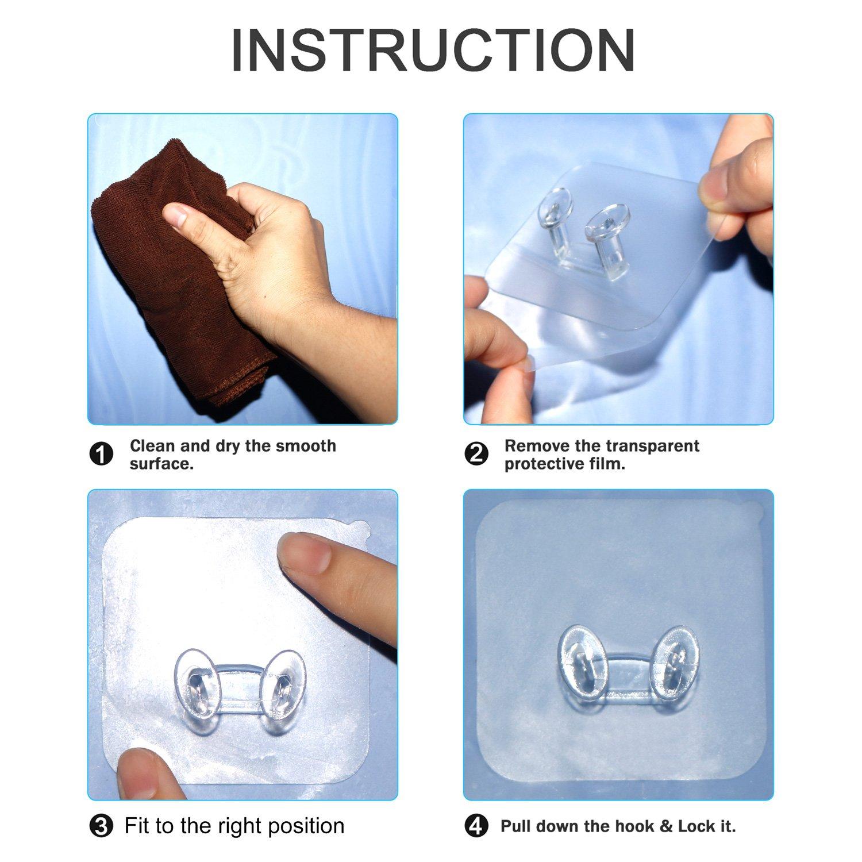 Kleider-Haken f/ür Jacken Utensilien Transparent 12Packs ohne Bohren Badezimmer-Haken G/ürtel Wand-Haken f/ür Ger/äte Schals flexibel einsetzbare T/ür-Haken Mobiltelefon Zauber-Haken