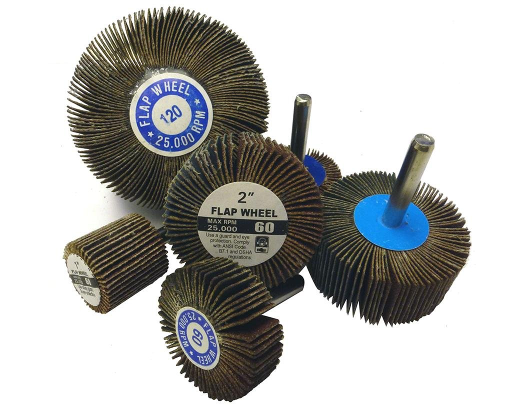 Griton FW15160 Industrial Mandrel Mounted Abrasive Flap Wheel 1//4 Round Shank 1-1//2 Diameter x 1-1//2 Width Pack of 10