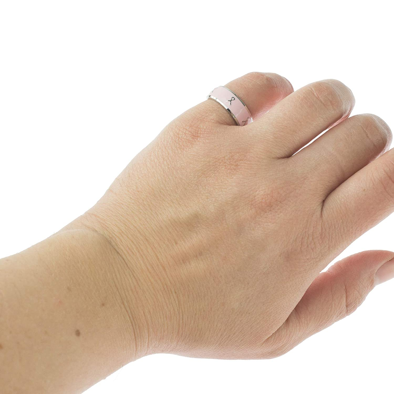Joyful Sentiments Inspirational Jewelry Stainless Steel Pink Enamel Ribbon Ring