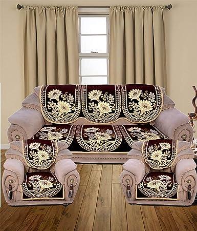 Vivek Homesaaz Embossed Printing 5 Seater Kniting Sofa Cover Set ,10 Pieces