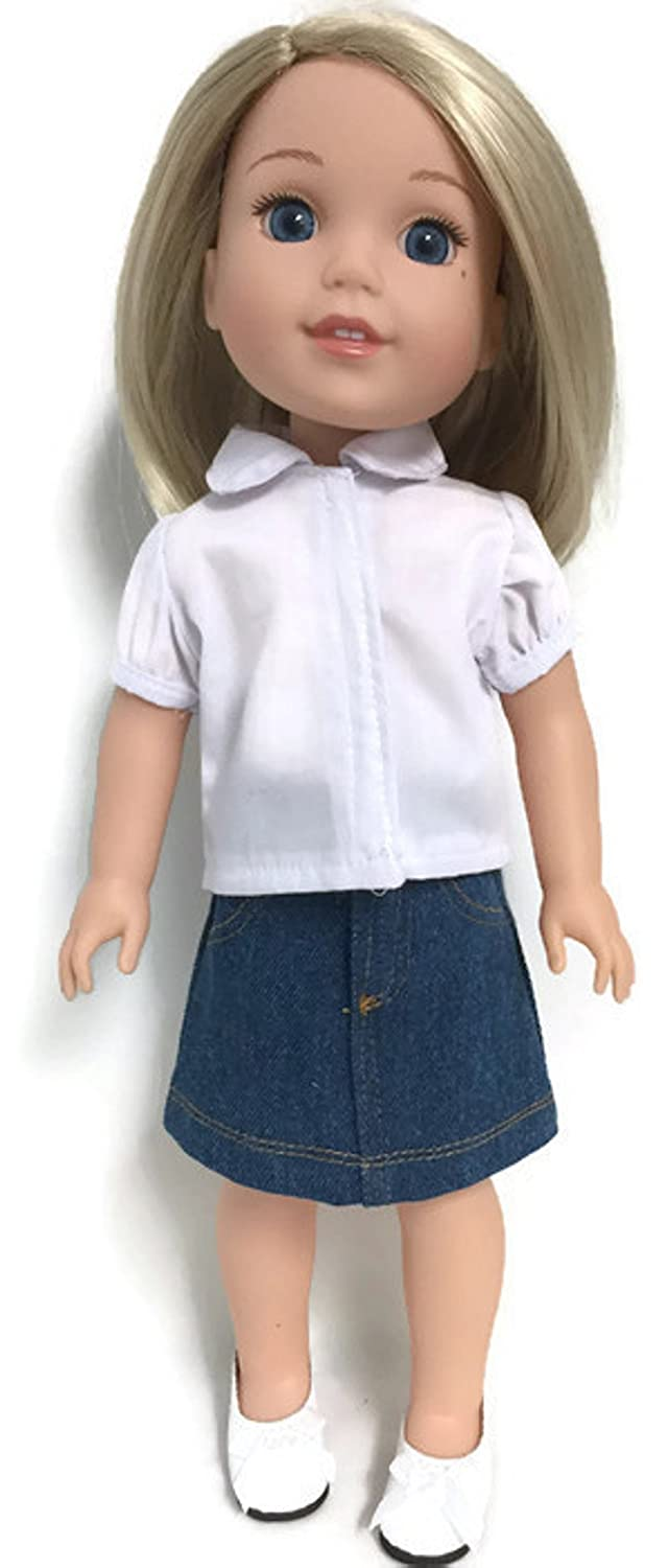 Doris Doll Boutique White Blouse /& Denim Jean Skirt for 14 inch American Girl Wellie Wisher Doll China