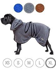 Bella & Balu Peignoir pour chien en microfibre – Peignoir pour très grand chien absorbant pour séchage après baignade, bain ou sortie sous la pluie (XL | Gris)