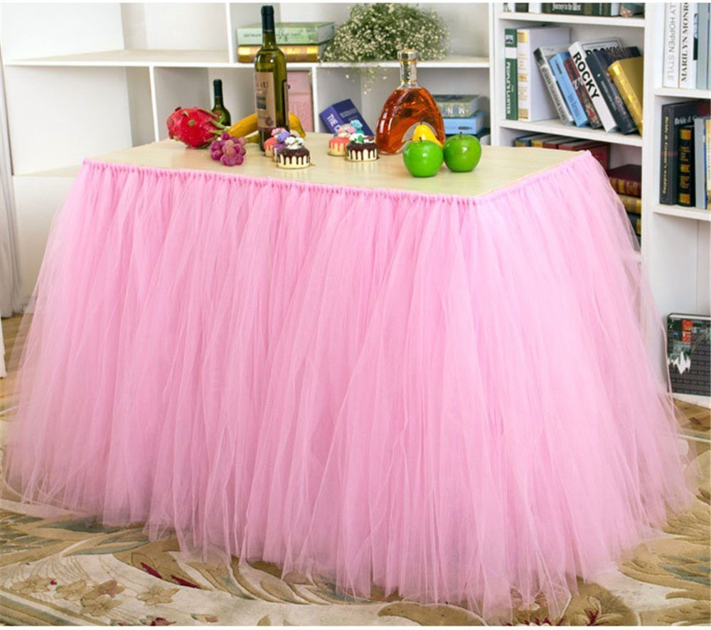 Amazon.com: Tutu Table Skirt Tulle Table Cover for Baby Shower High ...