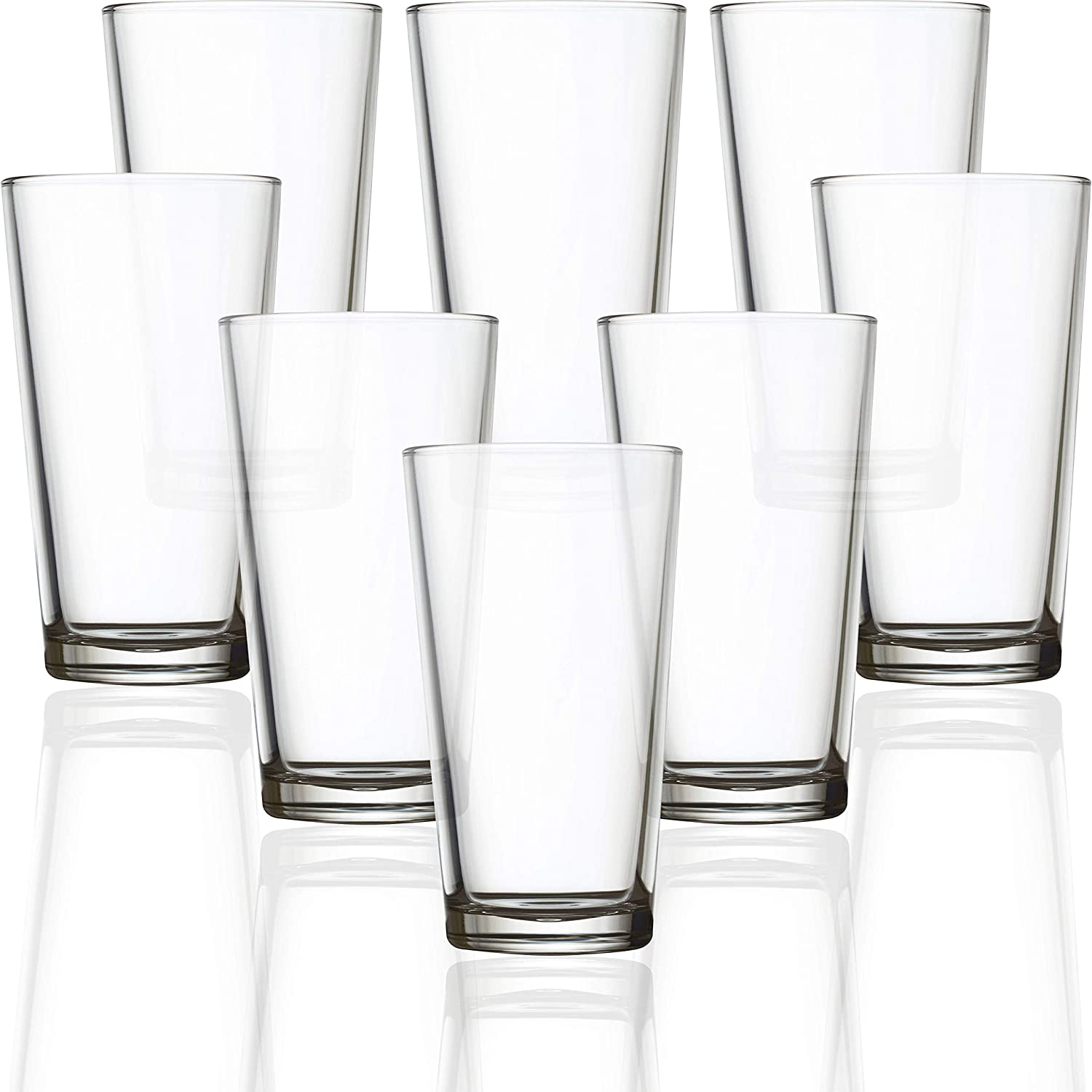 Circleware Simple Home Heavy Base Highball Tumblers, Huge Set of 8 Drinking Glasses Cups, Kitchen Entertainment Ice Tea Beverage Glassware for Water, Juice, Beer and Bar Decor Gift, 15.75 oz, Clear