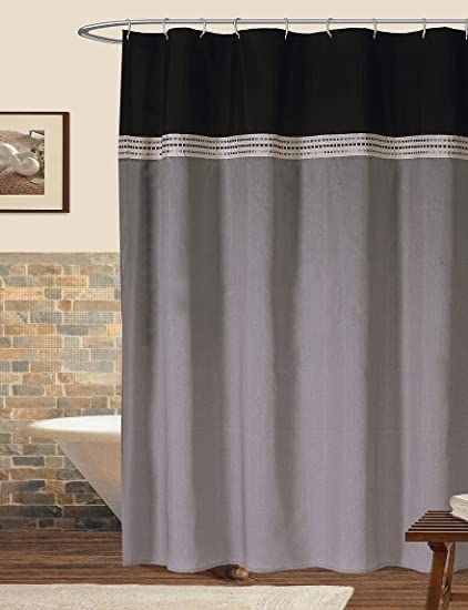 Image Unavailable Not Available For Color Lush Decor Stripe Shower Curtain In Black And Silver