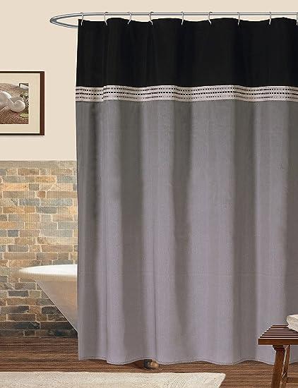 Amazon Lush Decor Stripe Shower Curtain In Black And Silver