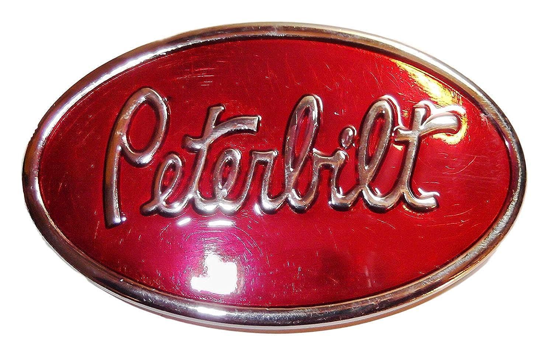 Peterbilt Logo On Red Enamel With Antique Pewter Finish Metal Belt Buckle
