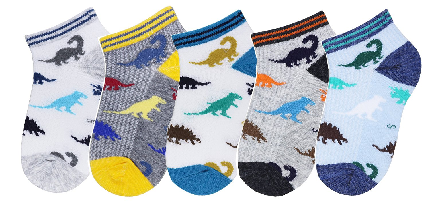 CHUNG Boys 5 Pack Cotton Low Cut Socks Star Dinosaur Stripe Print 2-9Y