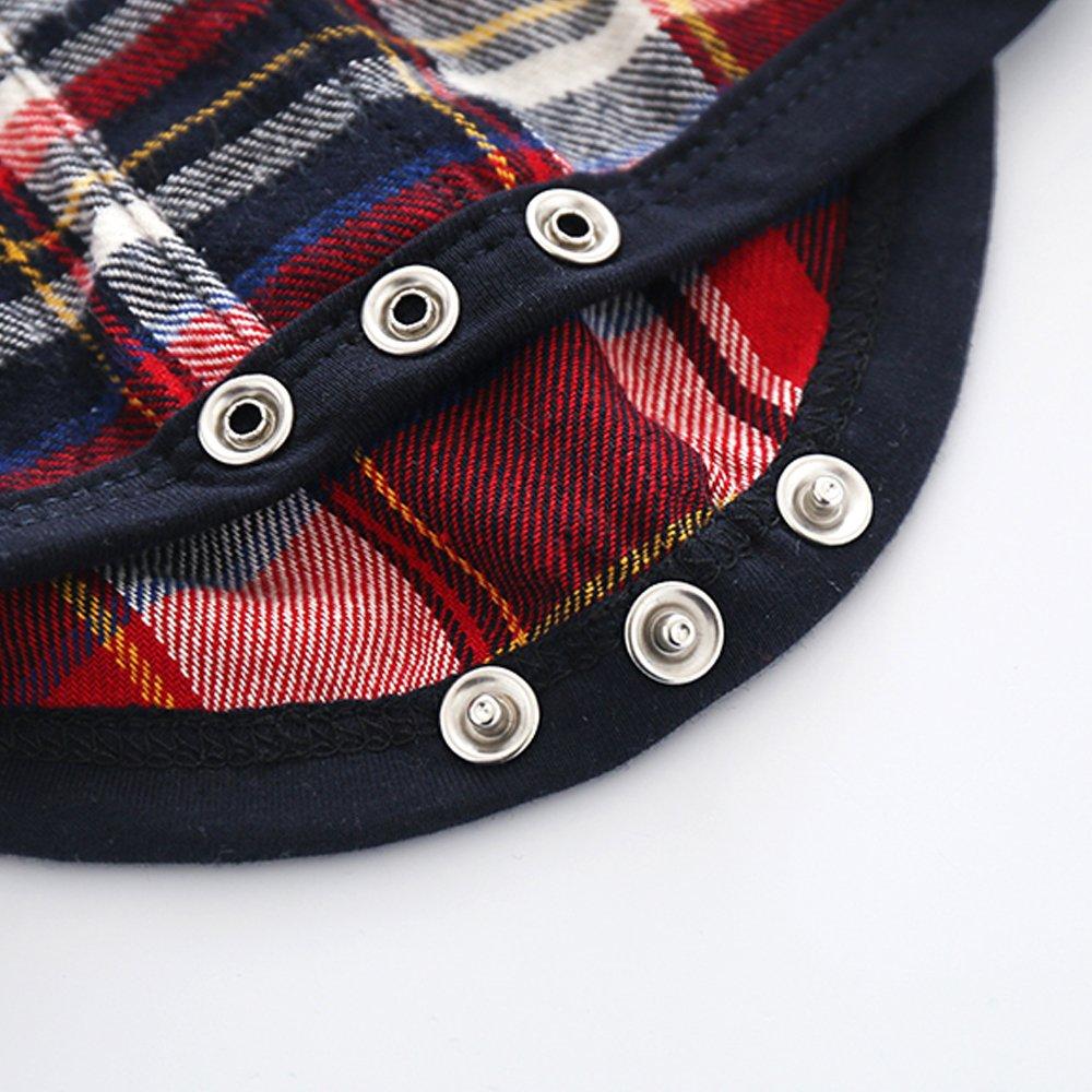 Tem Doger Baby Boys Button Front Plaid Flannel Bodysuit Romper Shirt Clothes Outfit