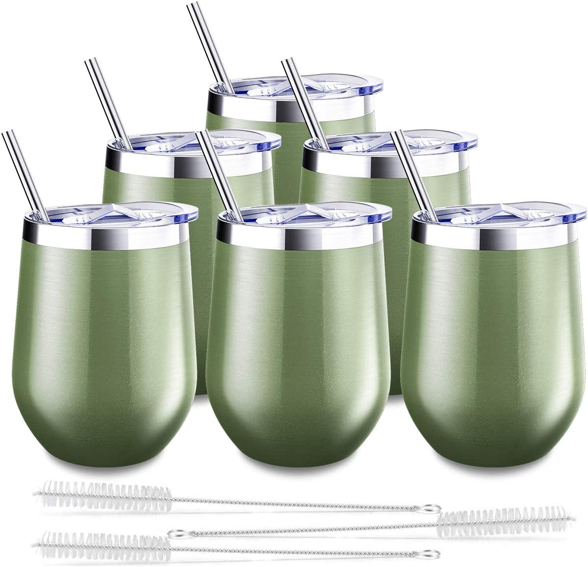 Blingco 6 Pack Stemless Wine Tumbler, 12 Oz Stainless Steel Wine Glass with Lids and Straws, Unbreakable Double Wall Vacuum Cup Insulated Wine Tumbler for Wine, Coffee, Cocktails, Champagne(Green)