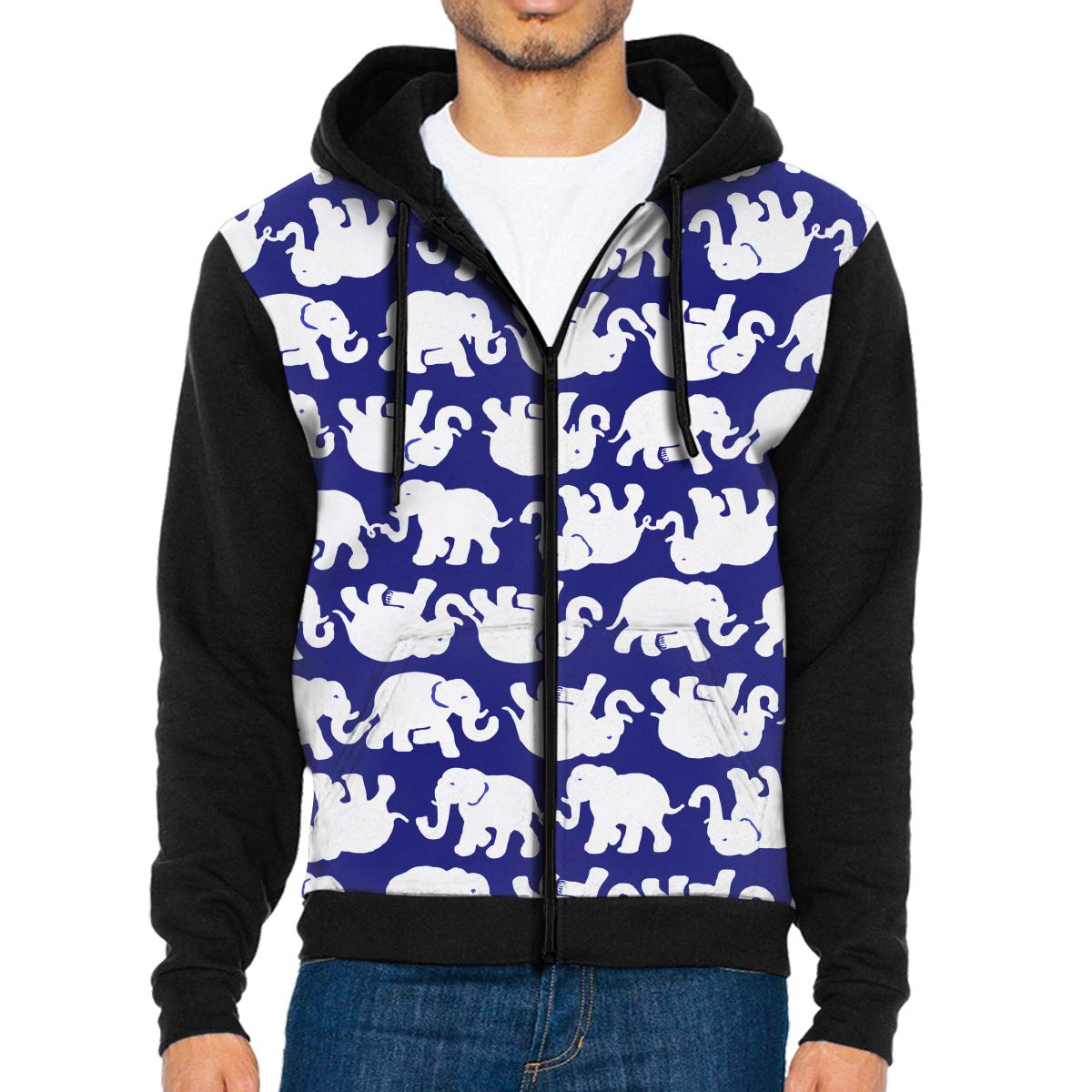 MHBGMYES White Elephants Lightweight Mans Jacket with Hood Long Sleeved Zippered Outwear