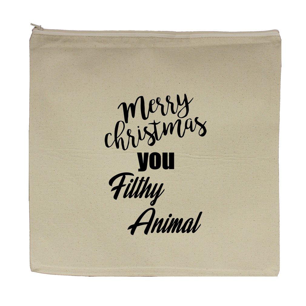 Merry Christmas You Filthy Animal Canvas Zipper Tote Bag Makeup Bag