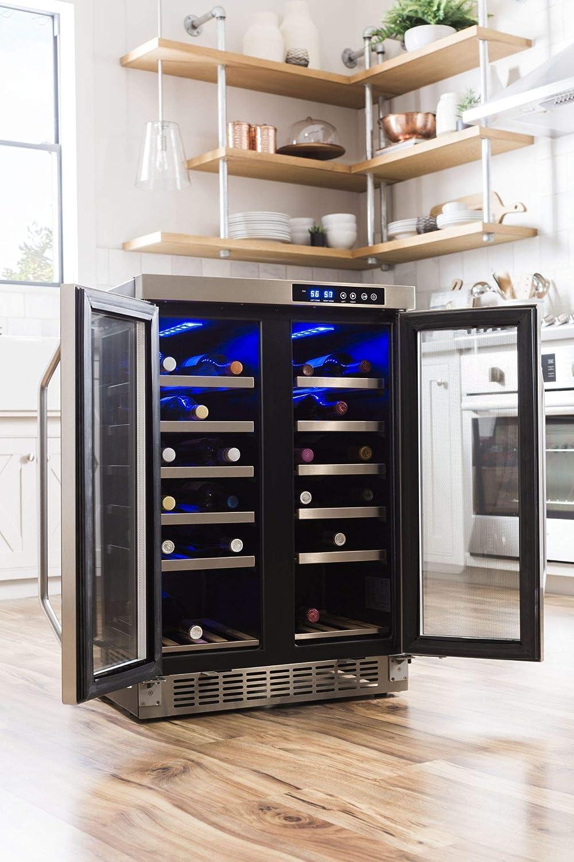 EdgeStar 36 Bottle Built-In Dual Zone French Door Wine Cooler Black//Stainless Steel