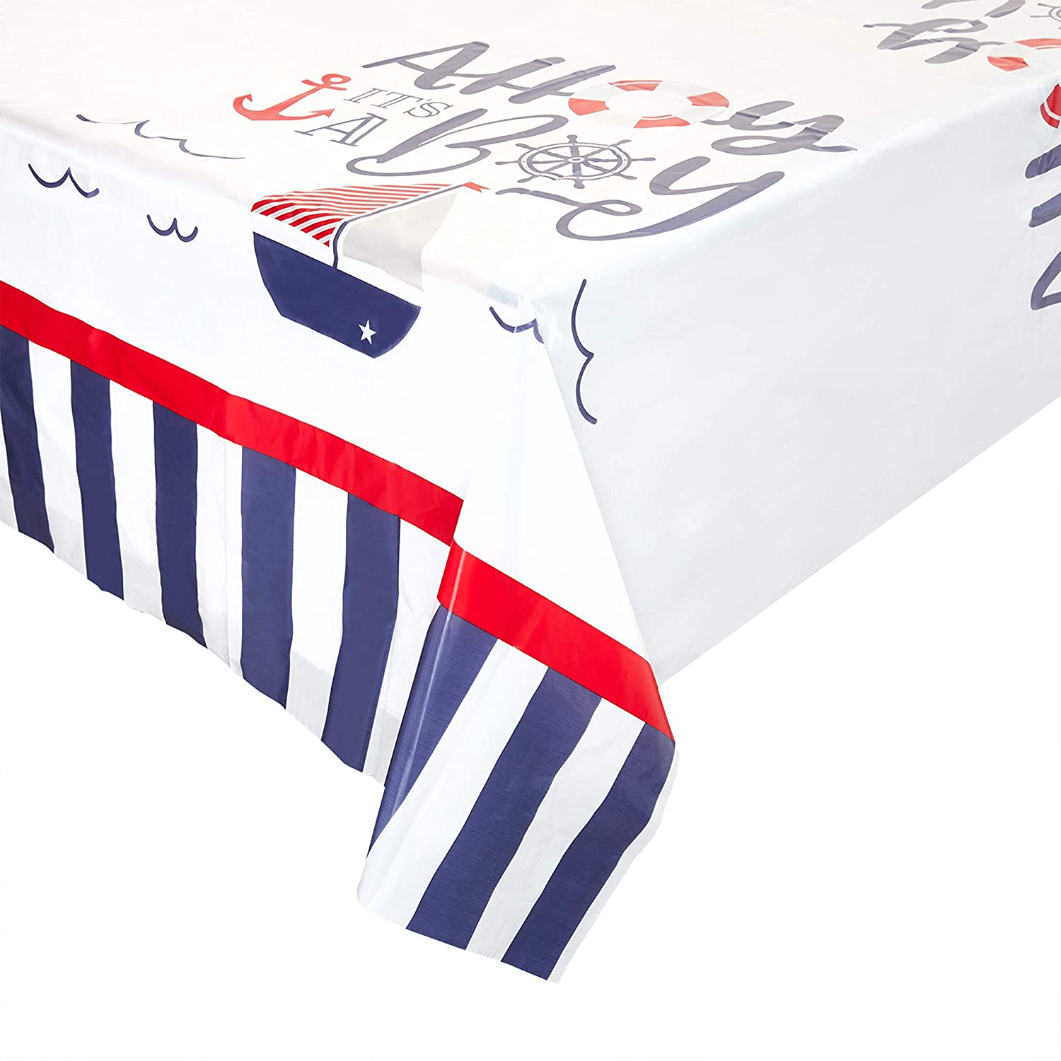 Ahoy It's a Boy Nautical Table Cover (54 x 108 in, Rectangle, 3 Pack)