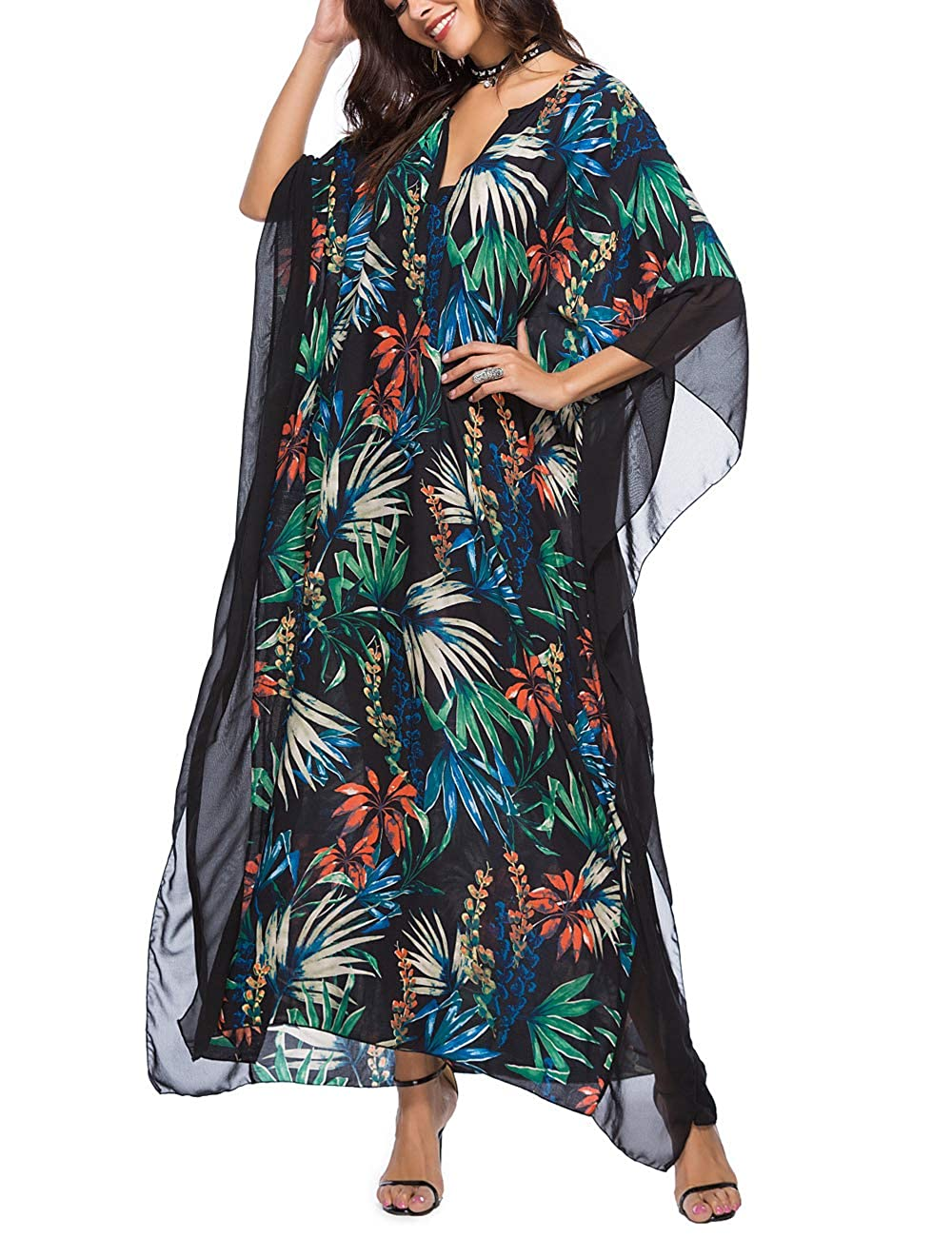 Caftan Dresses for Women Summer Maxi V Neck Boho Floral Beach Cover Up Plus Size Loose Casual Kaftan