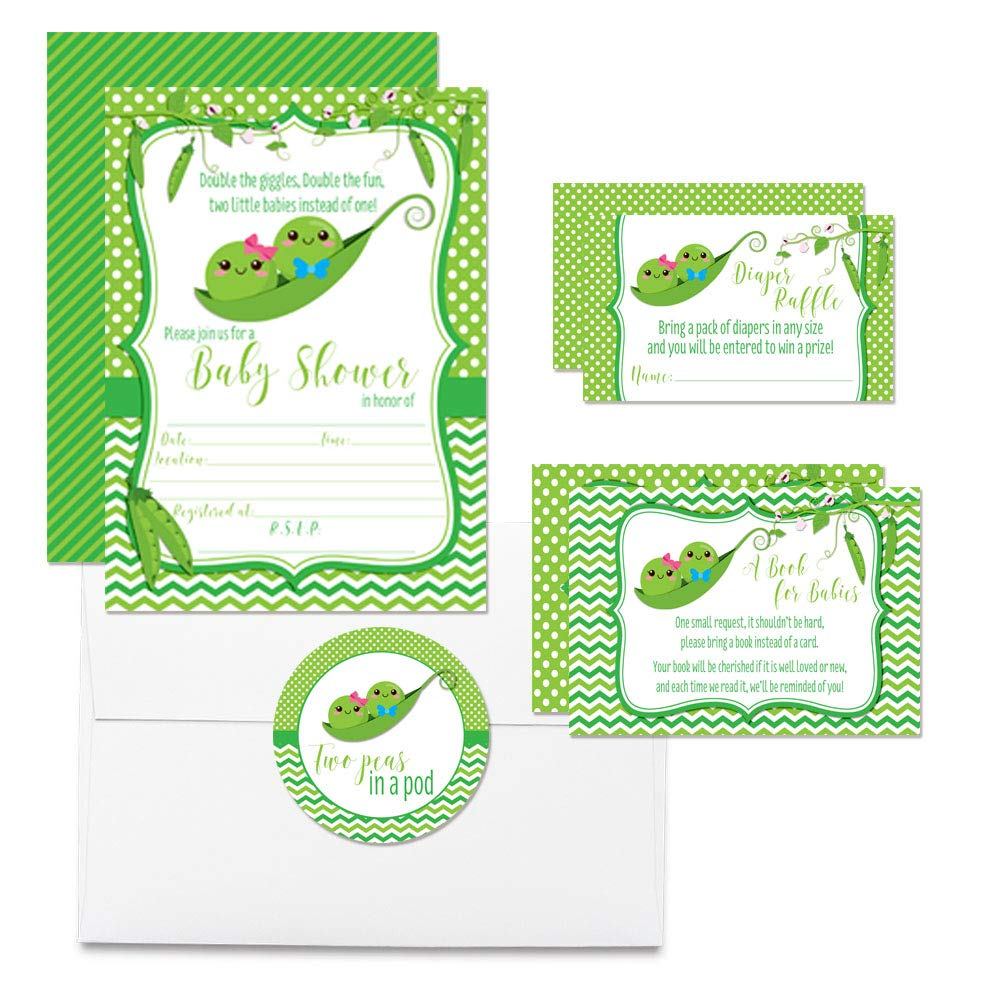"""Deluxe Two Peas In A Pod Boy Girl Twins Baby Shower Party Bundle, Includes 20 each of 5''x7'' Fill In Invitations, Diaper Raffle Tickets, Bring a Book Cards & 2"""" Thank You Favor Stickers w/ Envelopes"""