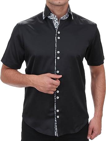Tiburón Cuello Camisa Slim Fit en negro, para hombre mejor calidad, HK almendra Slim Fit manga corta camisa extravagante Slim Fit, 6029412: Amazon.es: Ropa y accesorios